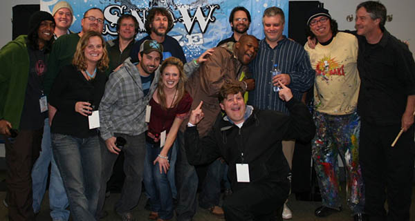 DJ Logic & Leftover Salmon backstage at Vail Snow Daze Festival Photo Mike Hardaker | Mountain Weekly News