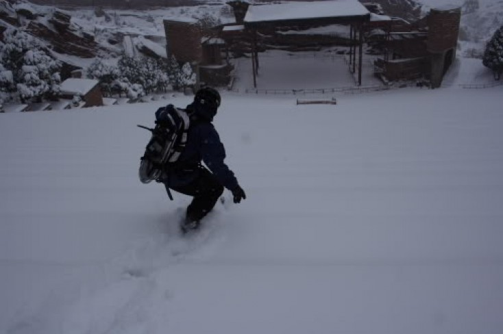 Snowboarding Red Rocks Amphitheatre on a Powder Day