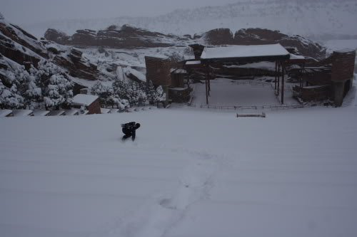 Brendon Thompson Snowboarding at Red Rocks Photo Mike Hardaker | Mountain Weekly News