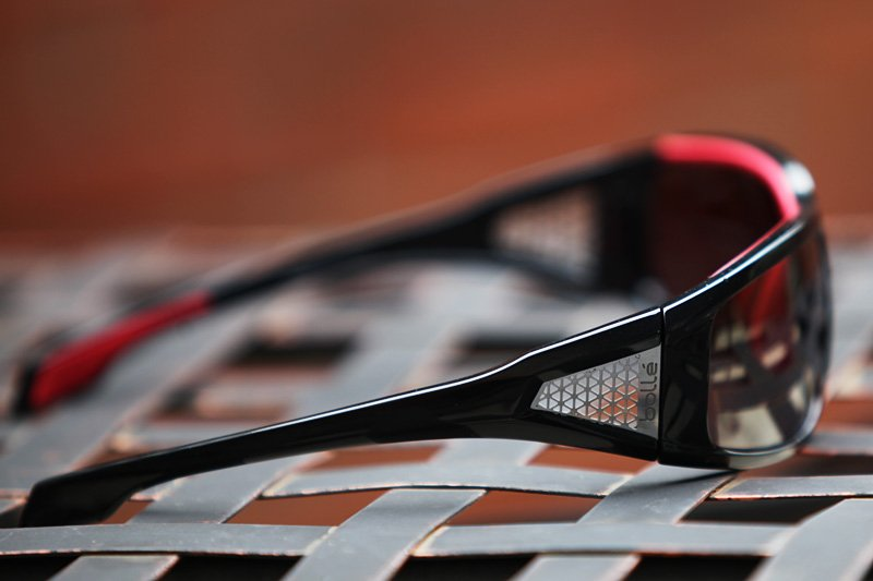 Side view of the Bolle Diablo sunglasses. Aluminum inserts help with air flow and give a unique look to the Diablos.