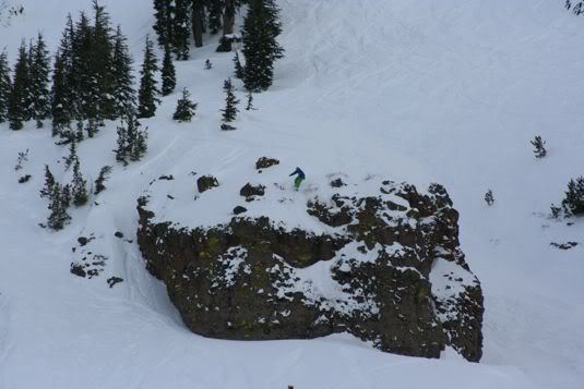 Jonathan Penfield Lining Up a Huge Cliff Drop Photo Mike Hardaker | Mountain Weekly News