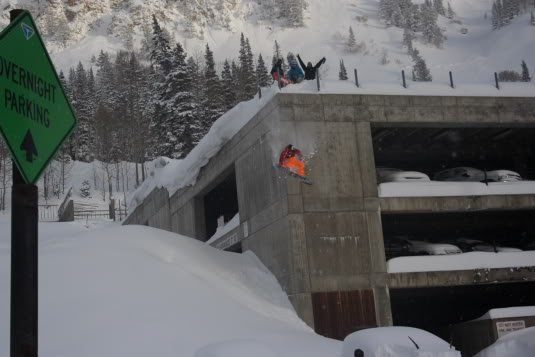 Scott Heale Dropping Off the Snowbird Parking Structure Photo Mike Hardaker | Mountain Weekly News