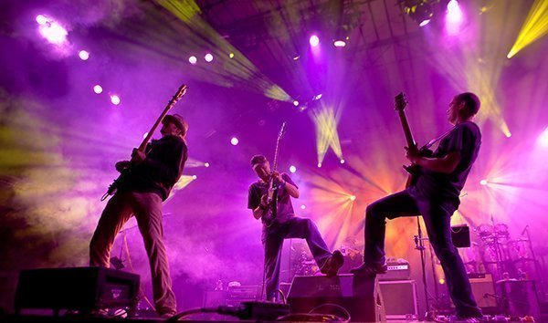 Brendan Bayliss (far right) Jamming Away with Umphrey's Mcgee