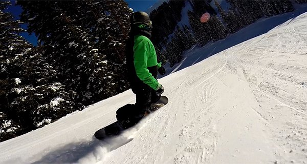 Mountain Weekly News editor Mike Hardaker testing the 2014/2015 Never Summer Chairman at Copper Mountain