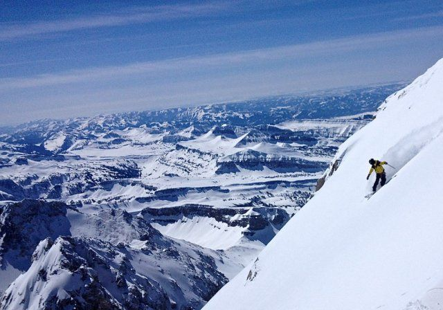 Jeremy Jones fully committed to his line on the Otter Body of the Grand Teton Photo Jones Snowboards