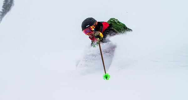 In Good Hands, our Guide Joe ripping! Photo Steve Shannon | Selkirk Wilderness Skiing