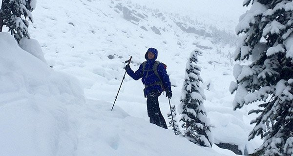 Nathaniel Murphy skinning in the Patagonia Untracked Snowboard Jacket