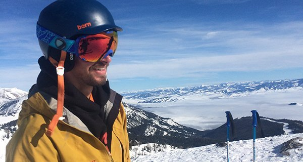 Zach Sands testing the Dye T1 Google high in the Tetons Photo | Mountain Weekly News