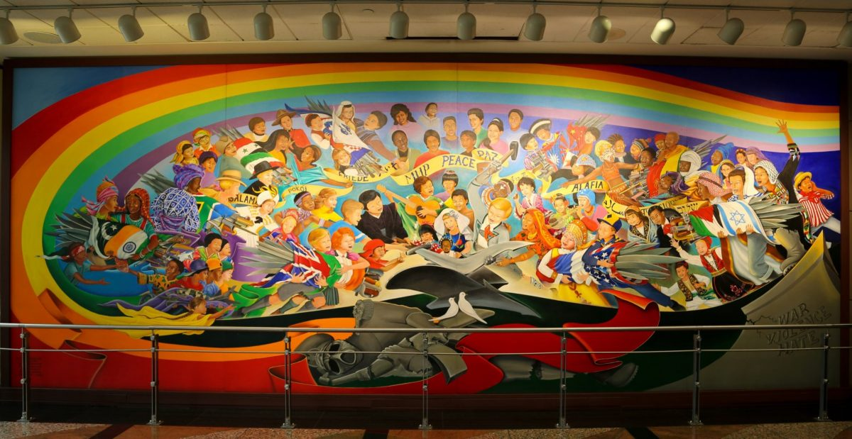the paintings displayed at the denver airport mountain