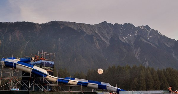 Free waterslide under Mount Currie. Photo: Jonathan Penfield | Mountain Weekly News