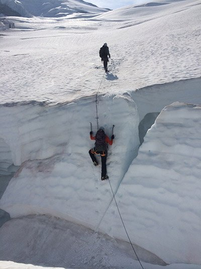Lauren IceClimbing out of a crevasse on the Coleman glacier on Mt. Baker Photo | Mountain Weekly News
