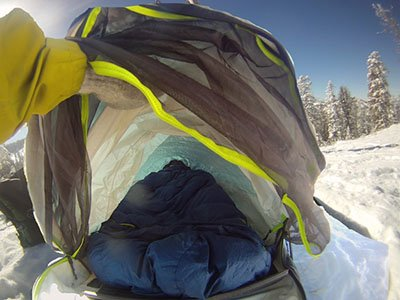 A peak inside the Outdoor Research Advanced Bivy after a fresh new snow in the backcountry Photo John Stember | Mountain Weekly News