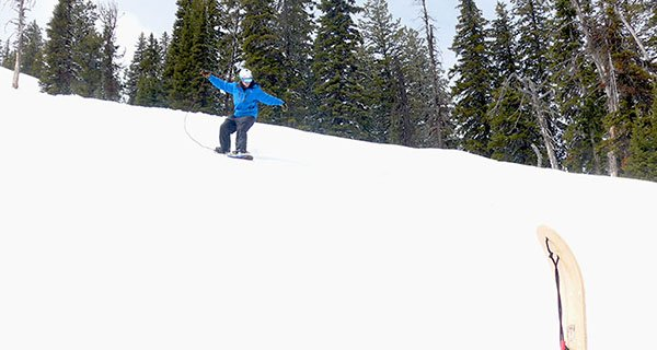 Look mom, no hands. Professional snowboarder Rob Kingwill ripping on Teton Pass Photo Mike Hardaker | Mountain Weekly News