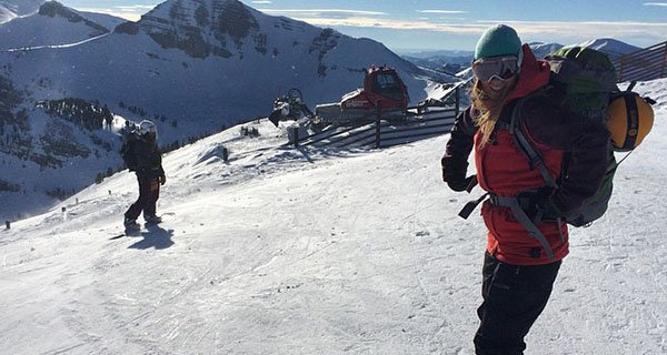 Stephanie gearing up for an adventure off Jackson Hole Mountain Resort