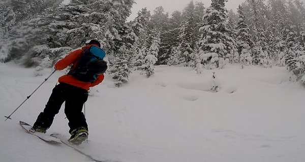 Mike touring in the Travis Rice Lib Tech Splitboard in the Tetons, Photo | Mountain Weekly News