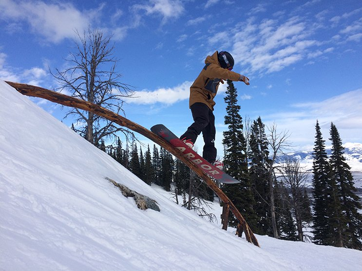 Jib wood not metal, Jonah fully confident on the Arbor Westmark Rocker Photo Lauren Dangles | Mountain Weekly News