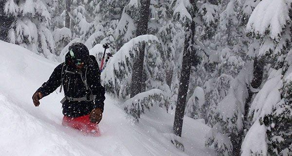 Thomas rocking the Stio Environ Jacket on a deep NW day. Photo | Mountain Weekly News