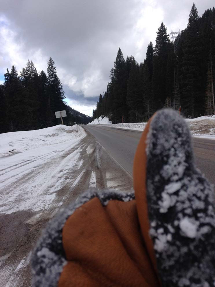 Ryan showing a real part of Teton life - the pass hitchhike in the Stromy Kromer Mitten Photo | Mountain Weekly NewsRyan showing a real part of Teton life - the pass hitchhike in the Stromy Kromer Mitten Photo | Mountain Weekly News