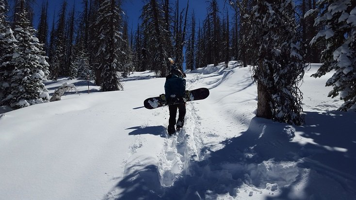 Susan hiking to the goods with the Never Summer Aura | Photo Mountain Weekly News