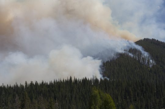 Wildfires in Wyoming Marching Towards the Town of Jackson