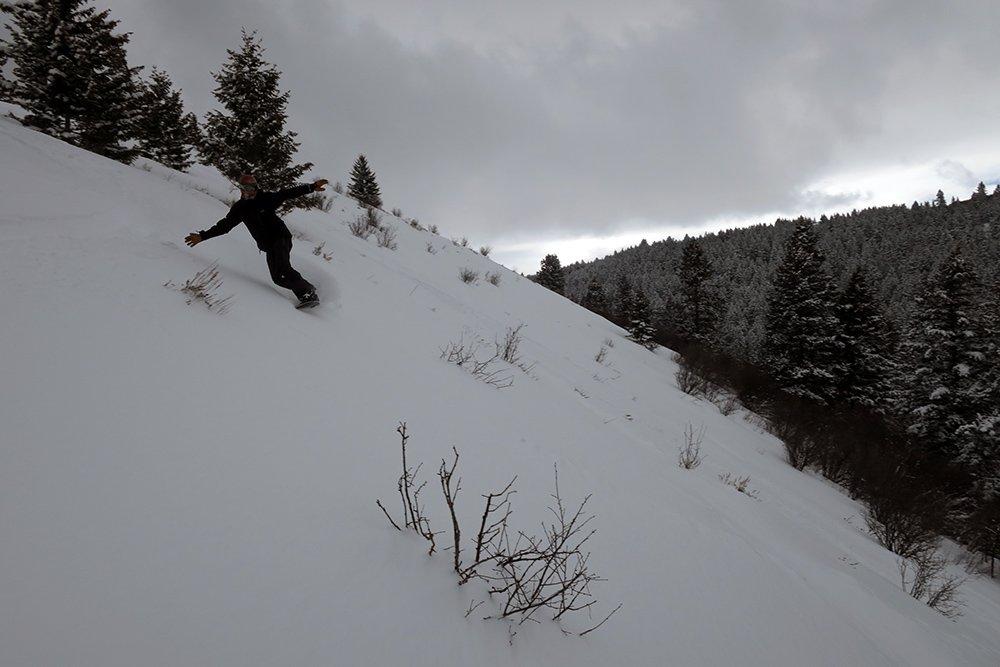 Mike Hardaker snowboarding Kelly Canyon Ski Resort