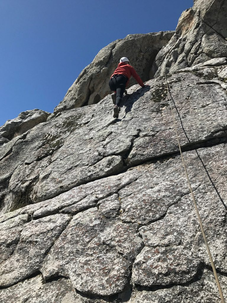 Climbing in Toad & Co. Debug Trail Pants