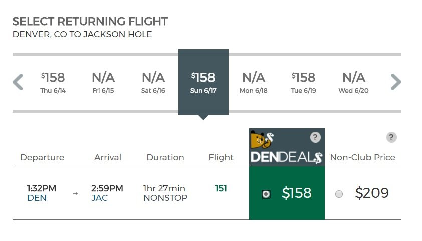 Frontier Denver to Jackson Hole Flight Cost