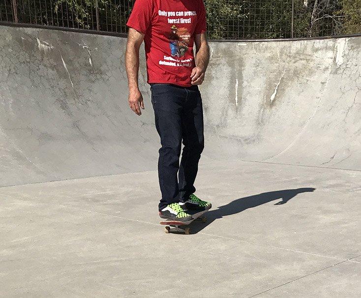 Skateboarder in Jean Pants
