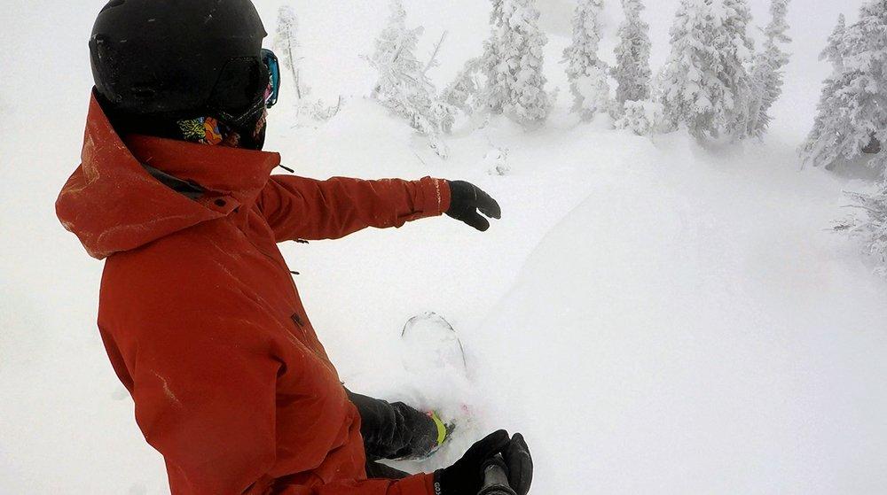 Snowboarding Powder Snow at Grand Targhee Resort in Alta Wyoming