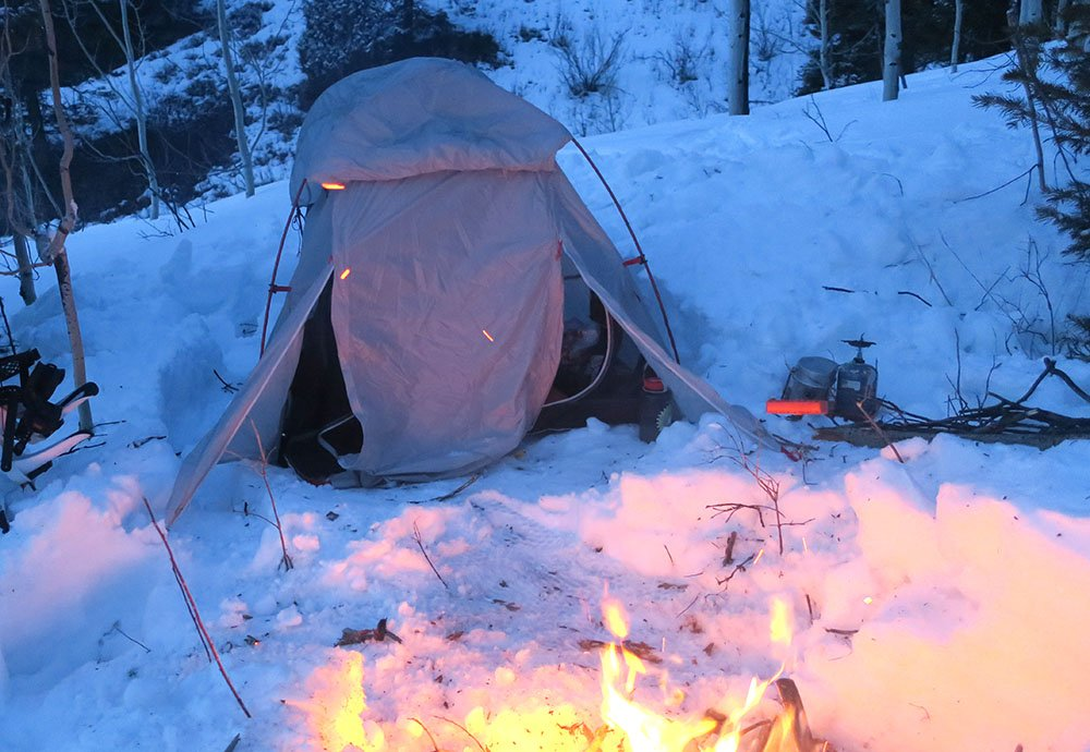 Winter Camping Fire Outdoors