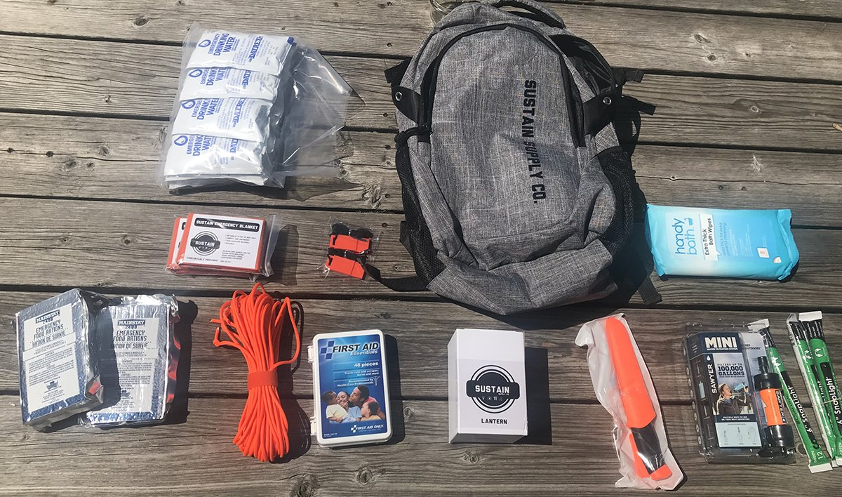729e752b30 Sustain Supply Co. Essential 2-Person Emergency Survival Bag Kit
