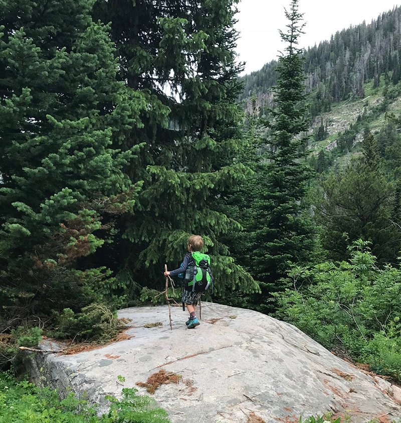 Kid Backpacking in Forrest