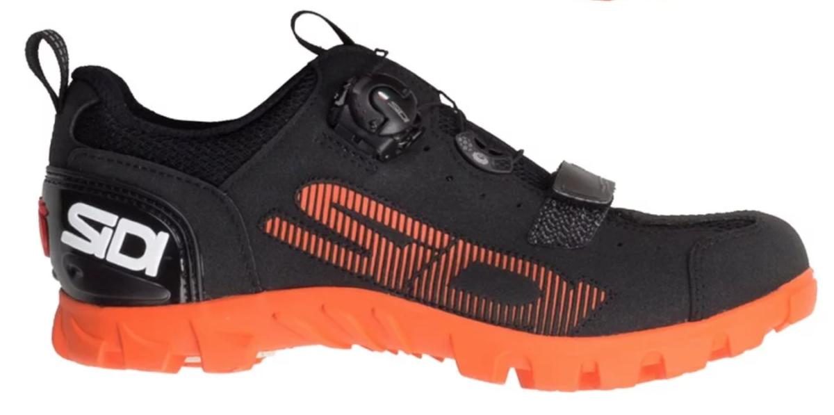 sidi sd15 mountain bike shoe in black and orange