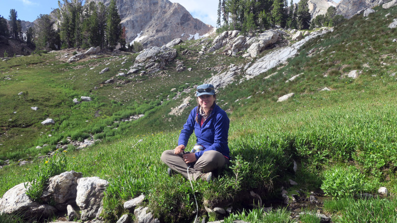 Portable Water Filter being used on Teton Crest Trail
