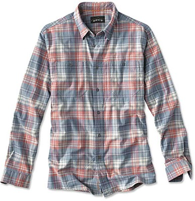 Mens Orvis Fly Fishing Flannel, Pink and Blue
