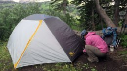 Setting up tent camping on Teton Crest Trail