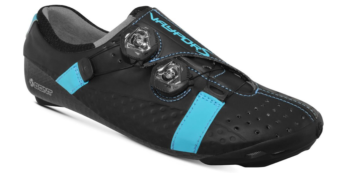 bont vaypor s road cycling shoe in black and blue