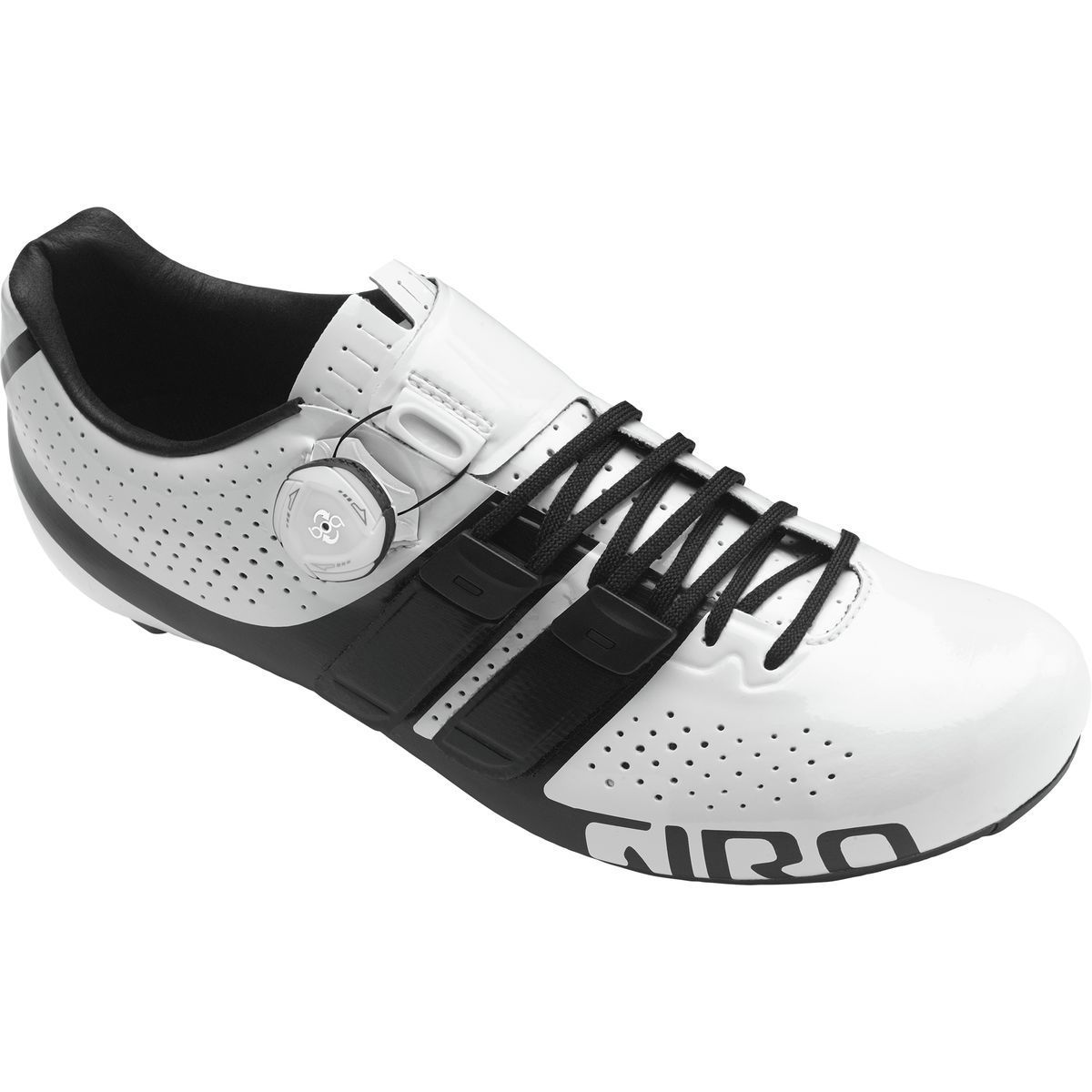 giro factor techlace road cycling shoe in black and white