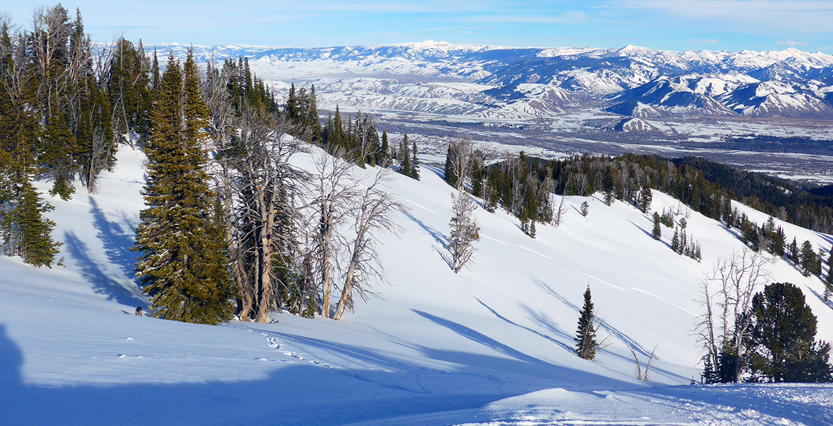 Ski Touring Teton Pass Town of Jackson Below