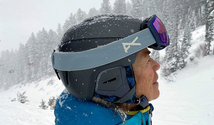 Woman in Ski Helmet