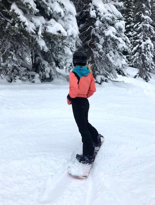 Cute Girl Snowboarding