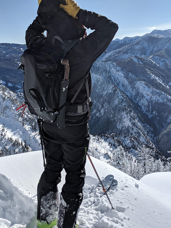 Backcountry Skier about to Drop in