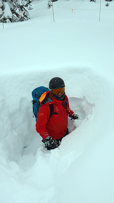 Deep snow guiding in Canada