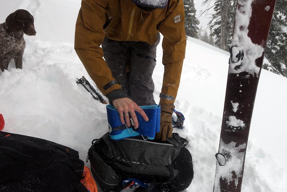 Skins inside Backpack for Splitboarding