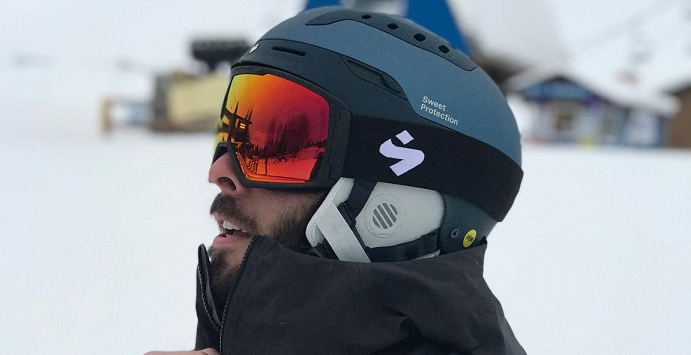 skier with helmet and goggles