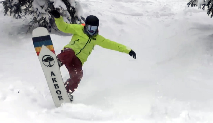 Snowboarding Powder on Arbor A-Frame Snowboard