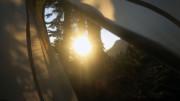 Waking up to sunrise camping