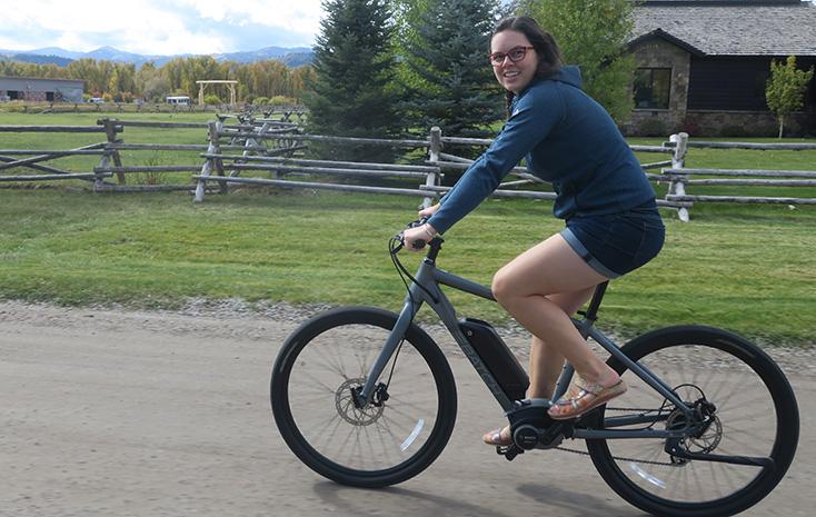 Women Riding E-Bike