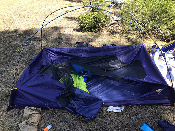 Setting up a Kelty Tent