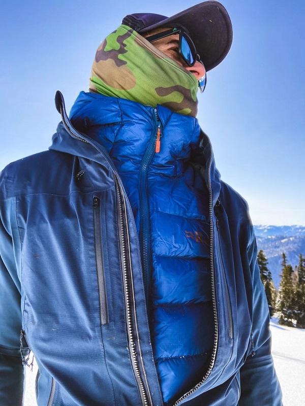 Men's Down Jacket in Snow - Blue Sunshine